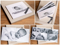 Collage showing a photo album containing newborn photos