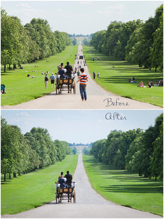 Before and after of wedding photos on Windsor's Long Walk