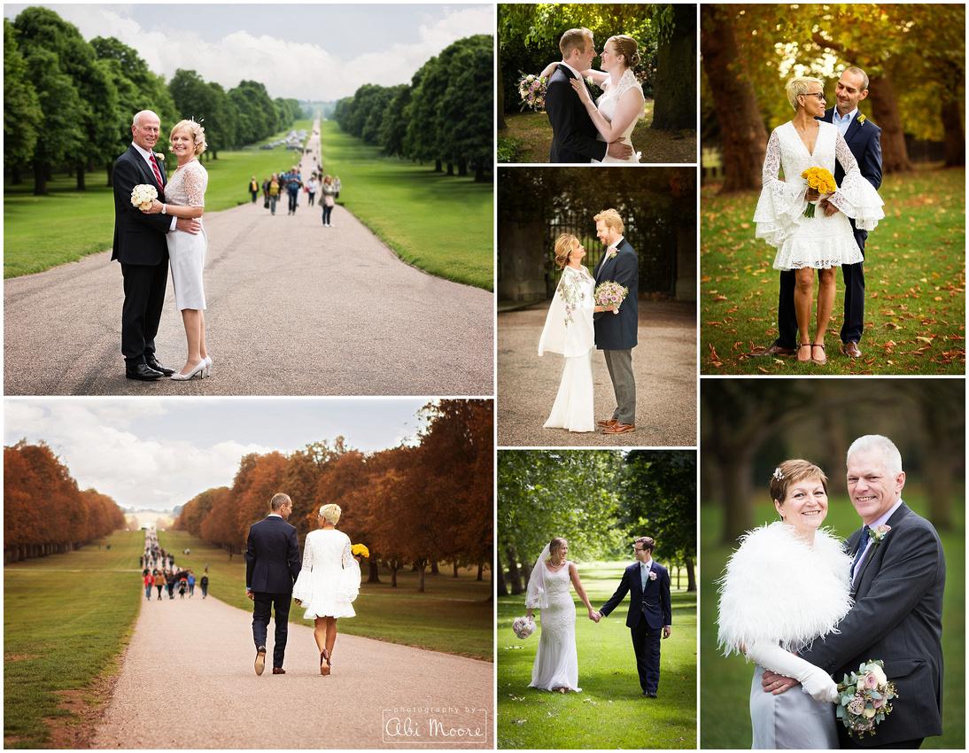 Wedding photos of couples on Windsor's Long Walk