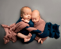 Two babies are wrapped in intertwining blue and pink blankets